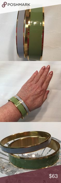 """2 Enamel Gold Tone Bracelets Green & Grey NIP 2 Enamel Gold Tone Bracelets Green & Grey NIP. 6"""" Around 2 1/2"""" in Diameter New without Tags NWOT. Beautiful heavy Bangles. Comes with one large and one smaller. Buy additional twin sets to mix and match. Compare to Kate Spade Bangles. Note: We are not experts in any items we sell (Jewelry, Art, Designers, etc.), we may not catch every defect or deficiency, markings, title, or condition. Vintage Designer is Unknown. Dolce & Gabbana Jewelry…"""