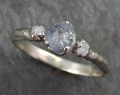 Raw Sapphire Diamond White Gold Engagement Ring blue Multi stone Wedding Ring Custom One Of a Kind Gemstone Ring Three stone Ring byAngeline C0356