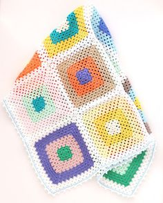 Bright Colors Granny Square Baby Blanket