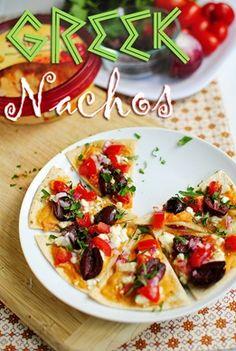 Greek Salad Nachos or Pizza:   use pita bread, humus, feta cheese, BAKE then add toppings then salad dressing