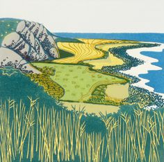 'Coastal Curves' By Printmaker Carol lander. Blank Art cards By Green Pebble. www.greenpebble.co.uk