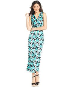 NY Collection Petite Surplice Twist Maxi Dress