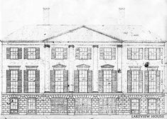 El Vedado | Palm Beach, FL. Facade drawing (c. Jan 1940) of the residence also known as Lakeview House and built originally by Clarence Mack and later owned by Consuelo Vanderbilt Balsan and her husband Col. Jacques Balsan.