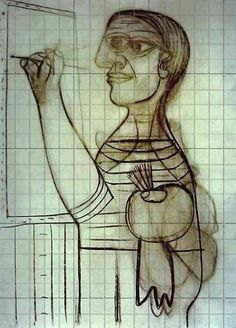 1073 Picasso painting gridded for the use of art students and painters.