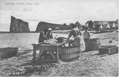 They Worked Hard For The Family: Gaspesian Fishermen Codfish, Beautiful Places To Visit, Vacation Destinations, Recherche Google, Old Houses, Photographs, Canada, Vintage, Rock