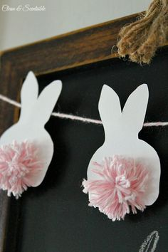 "This Easter, give new meaning to the term ""bushy bunny tail"" with these cleverly placed pom-poms. Decoration Noel, Ideas Party, Diy Room Decor, Craft"