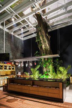Que dire sinon... Wooow. Cette cuisine est spectaculaire, avec un grand arbre au tronc imposant qui la traverse.
