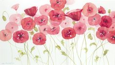 Jake Marshall watercolor. Pink and red poppies.