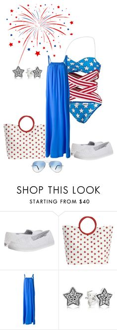 """**Holiday Weekend**"" by missy-smallen ❤ liked on Polyvore featuring Roxy, Magid, Jeremy Scott, DOUUOD, Pandora and Ray-Ban"