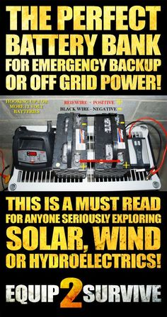 This is a MUST READ for anyone seriously exploring solar, wind or hydroelectric power generation for emergency backup or complete off grid power generation! Learn to make your own DIY battery bank to compliment your energy harvesting and SAVE lots of money doing it! The best information out there on quality DIY battery banks!