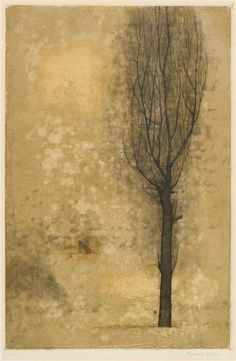 poboh: Tree, Fukui Ryonosuke / 福井良之助. Japanese (1923 - 1986) - color etching -