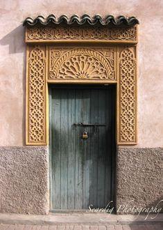 Items similar to Teal Marrakech, Morocco Door. on Etsy Moroccan Doors, Morrocan Decor, Moroccan Bathroom, Morrocan Architecture, Islamic Architecture, Aqua Blue, Photo Print, Seaside Style, Front Door Design