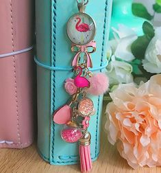 Flamingo Planner Charm Pink Planner Accessory and Keychain