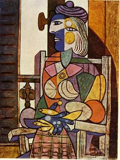 Seated Portrait of Marie-Therese Walter, 1937 by Pablo Picasso, Neoclassicist & Surrealist Period. Surrealism. portrait. Musée Picasso, Paris, France