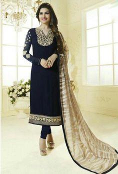 Blue Designer Embroidered Suit - Desi Royale