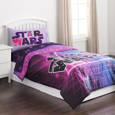 Whether she wants to be Princess Leia, Rey or Darth Vader, she will love to let her imagination soar while sleeping under her girl's <strong>Star Wars Hyperspace comforter by Lucasfilm</strong>. In vibrant colors, this soft microfiber comforter is sure to keep her warm and cozy, while adding to the cool decor of her room. A bold