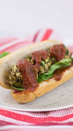 This hearty vegan meatball sub made with mushrooms, lentils, oats and more is full of zesty Italian spices and flavor.
