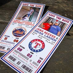 Fresh Paper - Baseball Ticket Save the Date, $3.00 (http://www.freshpaperstudios.com/baseball-ticket-save-the-date/)