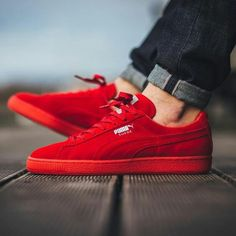 Puma Suede Classic Mono Ref Iced - High Risk Red-Puma Silver sneaker shoes red shoes running shoes Sneakers Mode, Best Sneakers, Suede Sneakers, Red Puma Shoes, Pumas Shoes, Red Puma Sneakers, Red Puma Suede, Women's Shoes, Sneaker Outfits