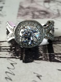 A Perfect Antique 2CT Halo Russian Lab Diamond Split Shank Diamond Engagement Wedding Ring