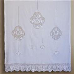 kit filati e schema su carta per fare tende ad uncinetto filet con ...