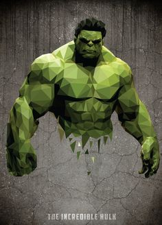 Low-Poly Portrait #Hulk | More Low Poly here : www.pinterest.com/creativestock/low-poly/