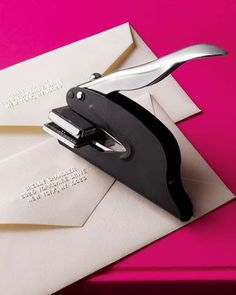 Address Embosser- have one! Used for our wedding invitations, xmas cards etc. - love it! Our Wedding, Dream Wedding, Wedding Pins, Wedding Venues, Wedding Week, Wedding Paper, Trendy Wedding, Perfect Wedding, Wedding Stuff