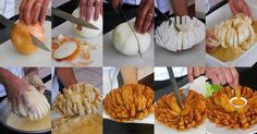 Outback Steakhouse Blooming Onion! 1) Cut it (do not cut through bottom root end) 2) Dip onion in seasoned flour 3) Separate petals and dip in batter (cornstarch, flour, spices) to coat 4) Place in fryer basket and deep-fry. 5) Serve hot and omnomnomn...