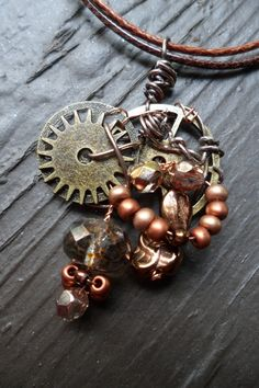 Bronze & Copper Steampunk Necklace by MamaCassQueen on Etsy, $10.00
