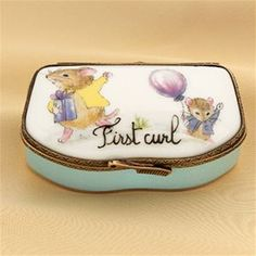Limoges Blue Baby First Curl Box with Mouse The Cottage Shop