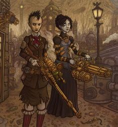 Steampunk Nevada and Rosenthal by CyborgNecromancer