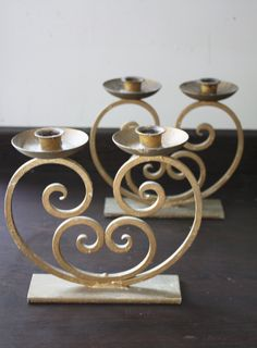 Pair of Gold Painted, Wrought Iron, Art Deco Candle Holders by TheFlyingSourcer on Etsy Mason Jar Candle Holders, Wood Candle Holders, Candle Stand, Metal Bending Tools, Wrought Iron Candle Holders, Pillar Design, Wrought Iron Decor, Door Gate Design, Steel Furniture