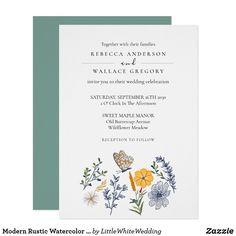 Modern Rustic Watercolor Garden Flora Elegant Invitation Elegant Invitations, Party Invitations, Wedding Stationery Inspiration, Watercolor Wedding, Celebrity Weddings, Modern Rustic, Paper Design, Rustic Wedding, Destination Wedding
