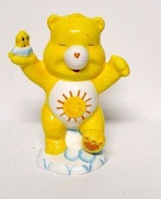 "Vintage Care Bear Funshine Piggy Bank Cloud Bears Sunshine Yellow Figurine 7"""