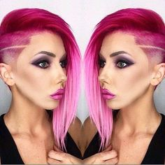 Shaved side pink hair