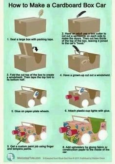 """to build a cardboard car.Perfect for our """"Drive-In Movie"""" Night!How to build a cardboard car.Perfect for our """"Drive-In Movie"""" Night! Projects For Kids, Diy For Kids, Crafts For Kids, Car Crafts, Children Crafts, Movie Crafts, Kids Fun, Craft Activities, Recycled Crafts"""