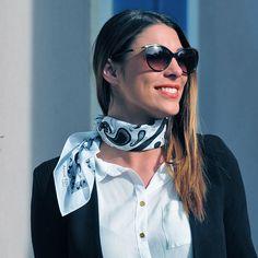 B&W silk-cotton bandana by www.annetouraine.com