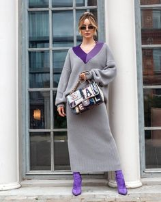 Winter Mode Outfits, Winter Fashion Outfits, Lavender Shoes, Winter Stil, Knitwear Fashion, Maternity Fashion, Knit Dress, Style Guides, Ready To Wear