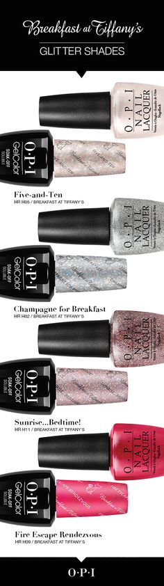 Meet the glitter shades from the new OPI Breakfast at Tiffany's collection. Inspired by the iconic film, Breakfast at Tiffany's, let your nails dazzle this holiday season with the exciting shades from Each nail lacquer shade is per Opi Nails, Glitter Nails, Nail Polishes, Shellac, Cute Nails, Pretty Nails, Manicure Y Pedicure, Pedicure Ideas, Breakfast At Tiffanys