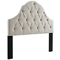 image of Pulaski Tufted Upholstered Headboard with Round Top in Off White