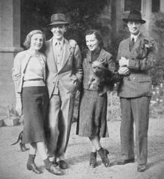 """A reunion of Astaires in Ireland, 1939 """"Mr. and Mrs. Fred Astaire with Lord and Lady Charles Cavendish photographed on the day brother Fred and wife arrived at Lismore Castle from America to stay with sister Adele and her husband at their home in County Waterford."""