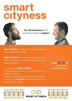 Smart Cityness 2014 from 25/09/2014 to 28/09/2014 represents the first edition of the best annual festival of Sardinia, concerning smart cities and social and technological innovation #cagliari #festival #sardinia #smartcityness #cities #cagliariholidays         http://cagliariholidays.com/eventi/smart-cityness-2014.html