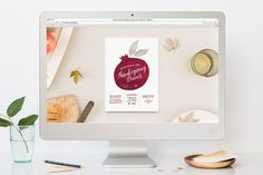 Painted Pomegranate Thanksgiving Online Invitations by Splendid Supply Co. at minted.com