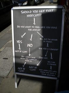 barbers doing it right… Barber shop doing it right! Great attention catcher and funny sign too :)Barber shop doing it right! Great attention catcher and funny sign too :) Haircut Quotes Funny, Funny Quotes, Funny Memes, Haircut Funny, Funny Hair, Salon Signs, Trendy Haircuts, Men's Haircuts, Men's Hairstyles