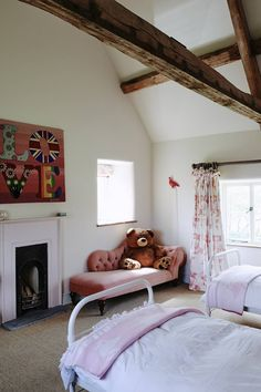 See all our stylish kids' bedroom ideas on HOUSE - design, food and travel by House & Garden - including this room with a chestnut chaise longue Rustic Girls Bedroom, Kids Bedroom, Bedroom Ideas, Kids Rooms, Bedroom Inspiration, Baby Rooms, Farm House Colors, Sweet Home, Modern Rustic Interiors