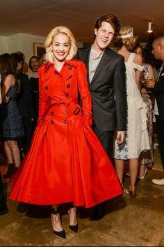 Hot-or-Hmm-Rita-Ora's-CFDA-Vogue-Fashion-Fund-Cocktail-Party-Wes-Gordon-Red-Trenchcoat-Dress