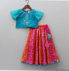 Pre Order: Blue Top With Colourful Lehenga Girls Frock Design, Kids Frocks Design, Baby Frocks Designs, Baby Dress Design, Kids Lehanga Design, Lehanga For Kids, Kids Indian Wear, Kids Ethnic Wear, Kids Dress Wear