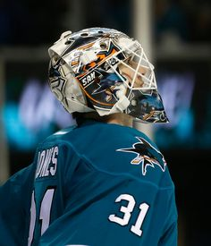 San Jose Sharks goaltender Martin Jones looks up at the video replay during the second period (Oct. 10, 2015).