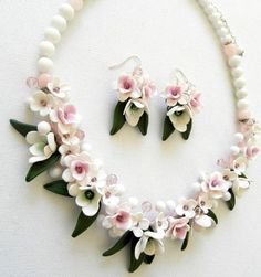 Sakura  Cherry blossom  Pink white jewelry  by insoujewelry, $74.00