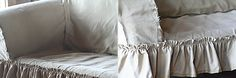 Good tutorial to make ruffley sofa slip covers ;) Cozy Living Rooms, Home And Living, Shabby Chic Sofa, Sofa Covers, Bed Pillows, Sofa Slipcovers, Upholstery, House Design, Tablecloths